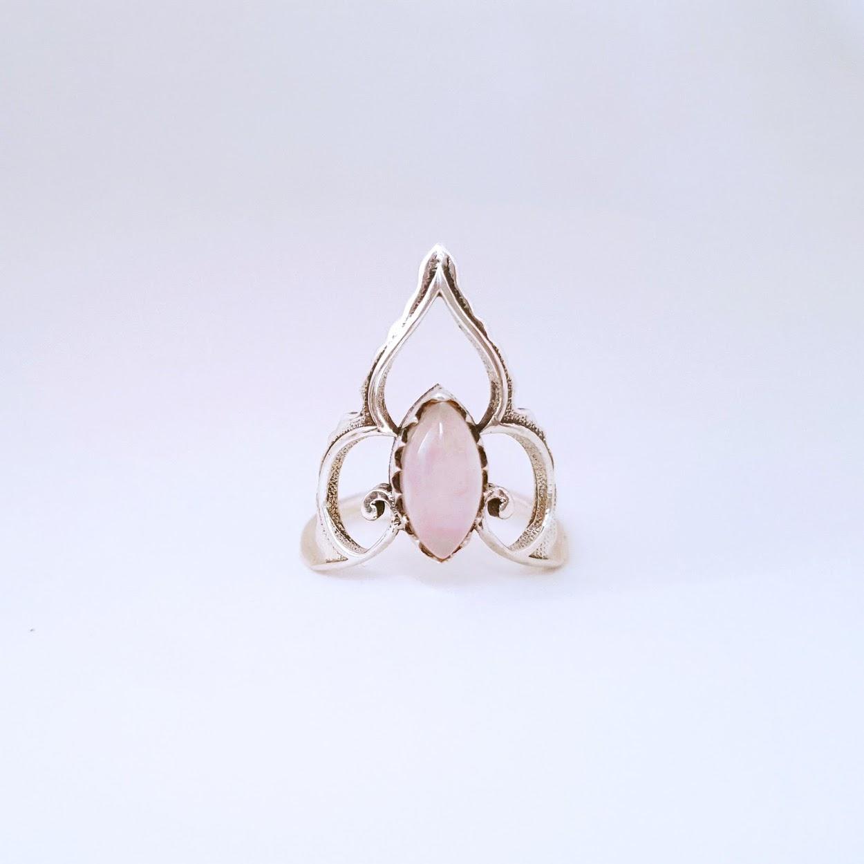 Anel de Prata Coroa Quartzo Rosa