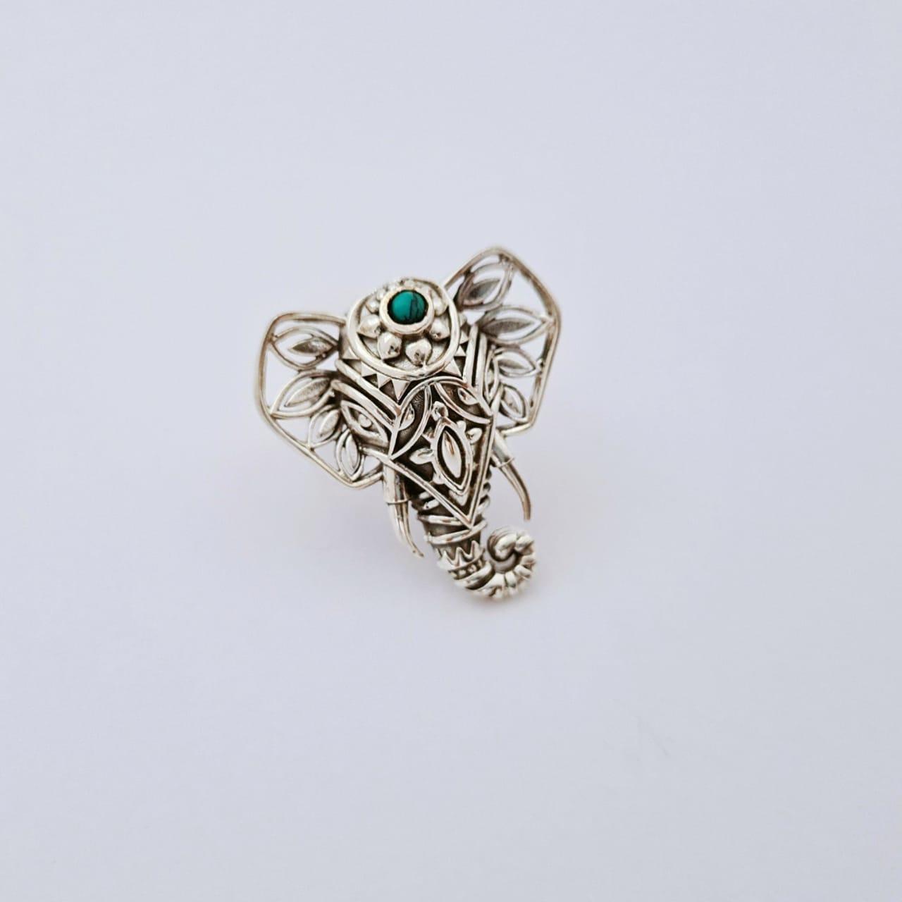 Anel de Prata Elefante com Turquesa