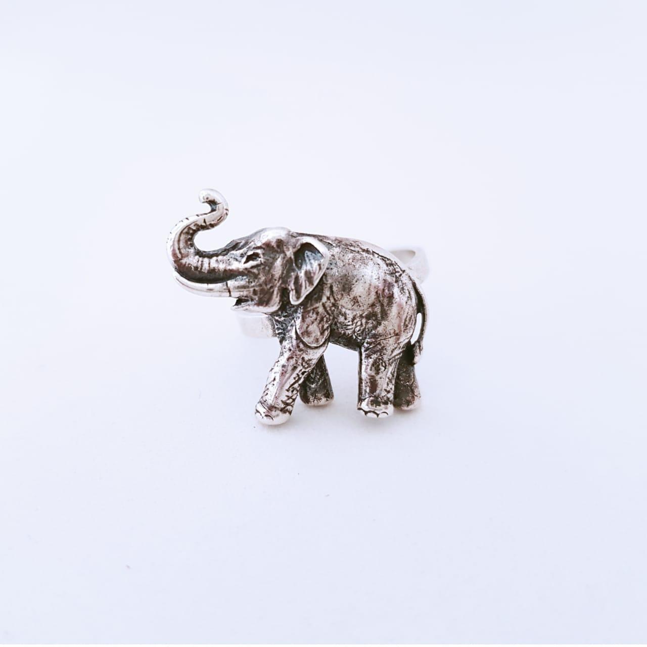 Anel de Prata Elefante Envelhecido