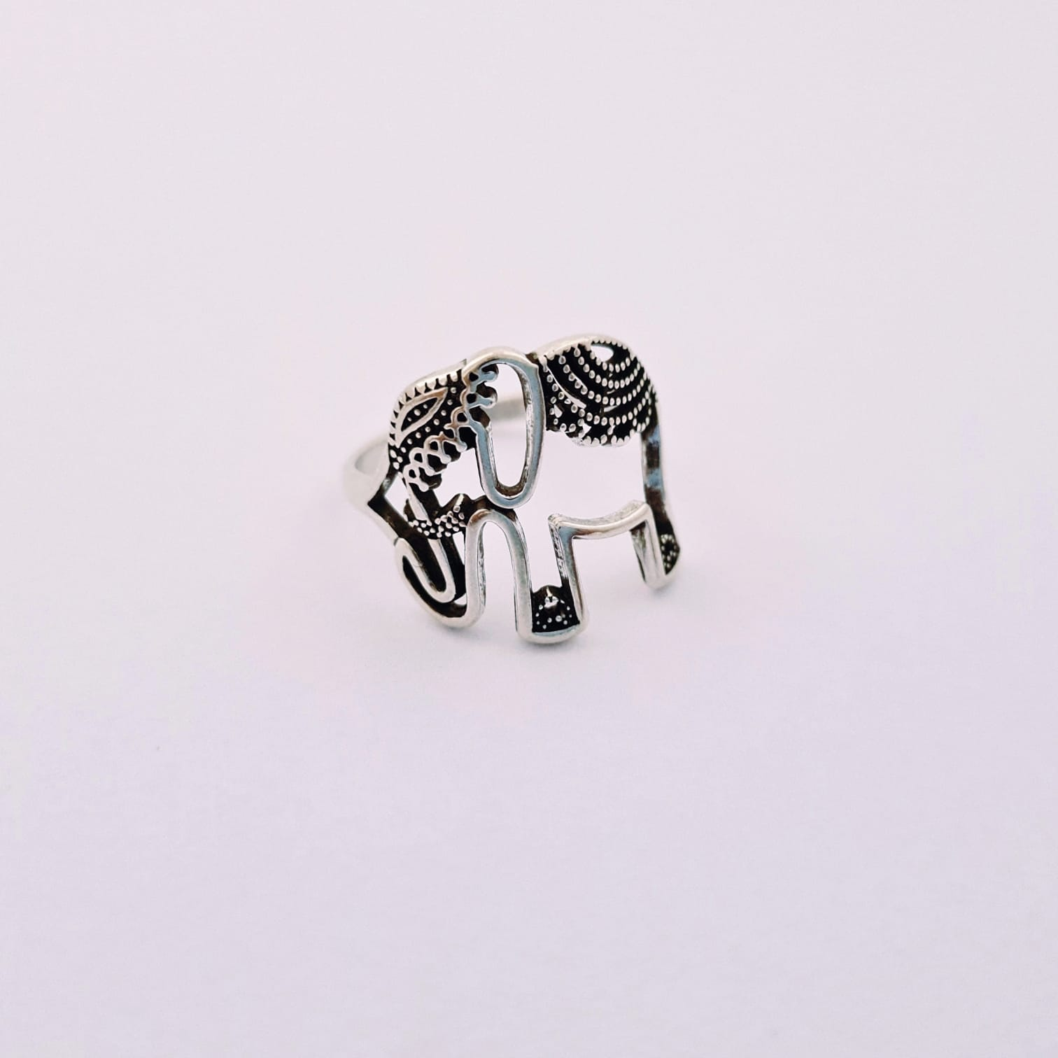 Anel de Prata Elefante Indiano Vazado