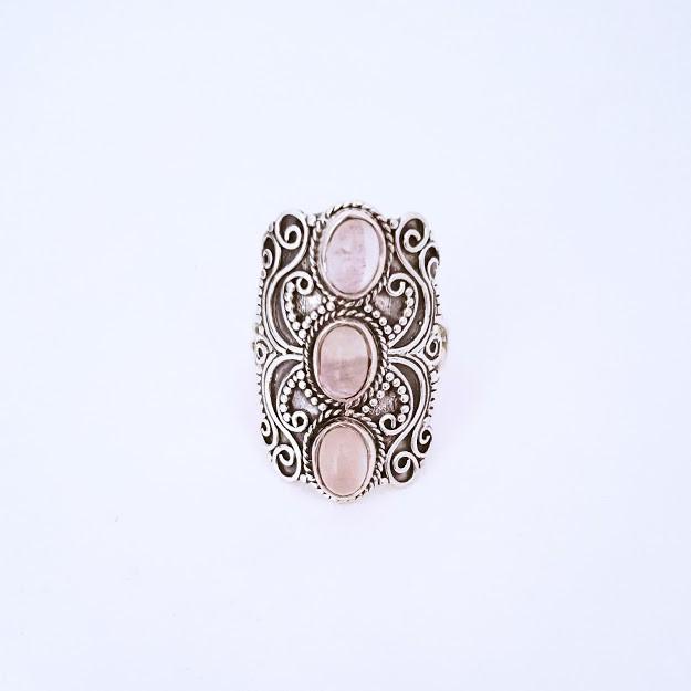Anel de Prata Envelhecido Triplo Quartzo Rosa