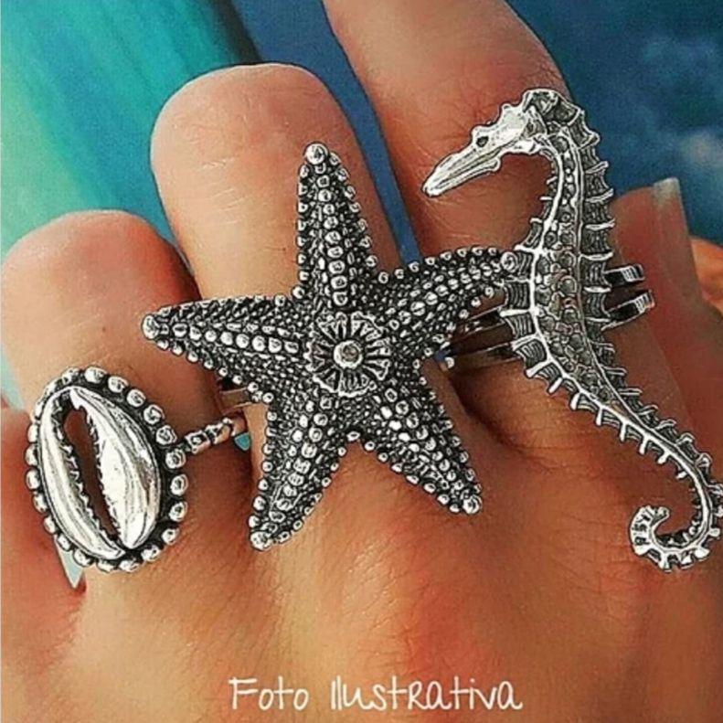 Anel de Prata Estrela do Mar
