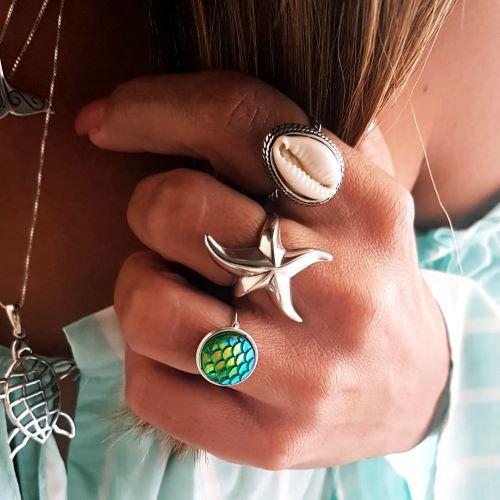 Anel de Prata Estrela do Mar Lisa