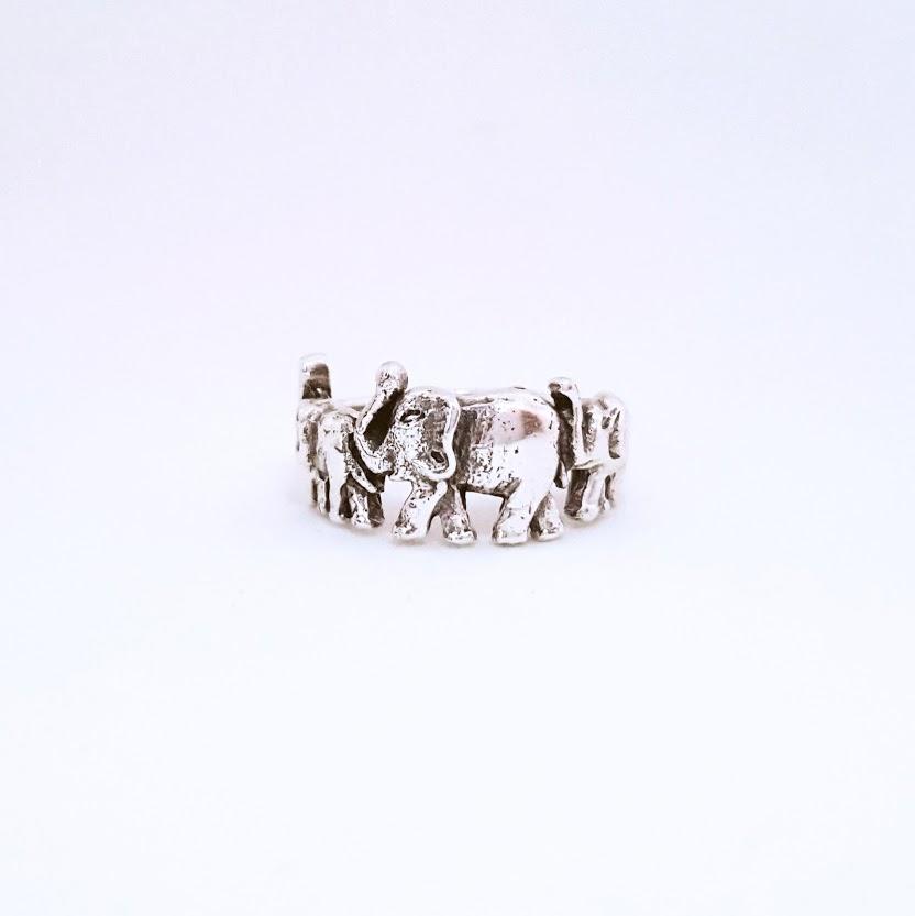 Anel de Prata Família de Elefantes