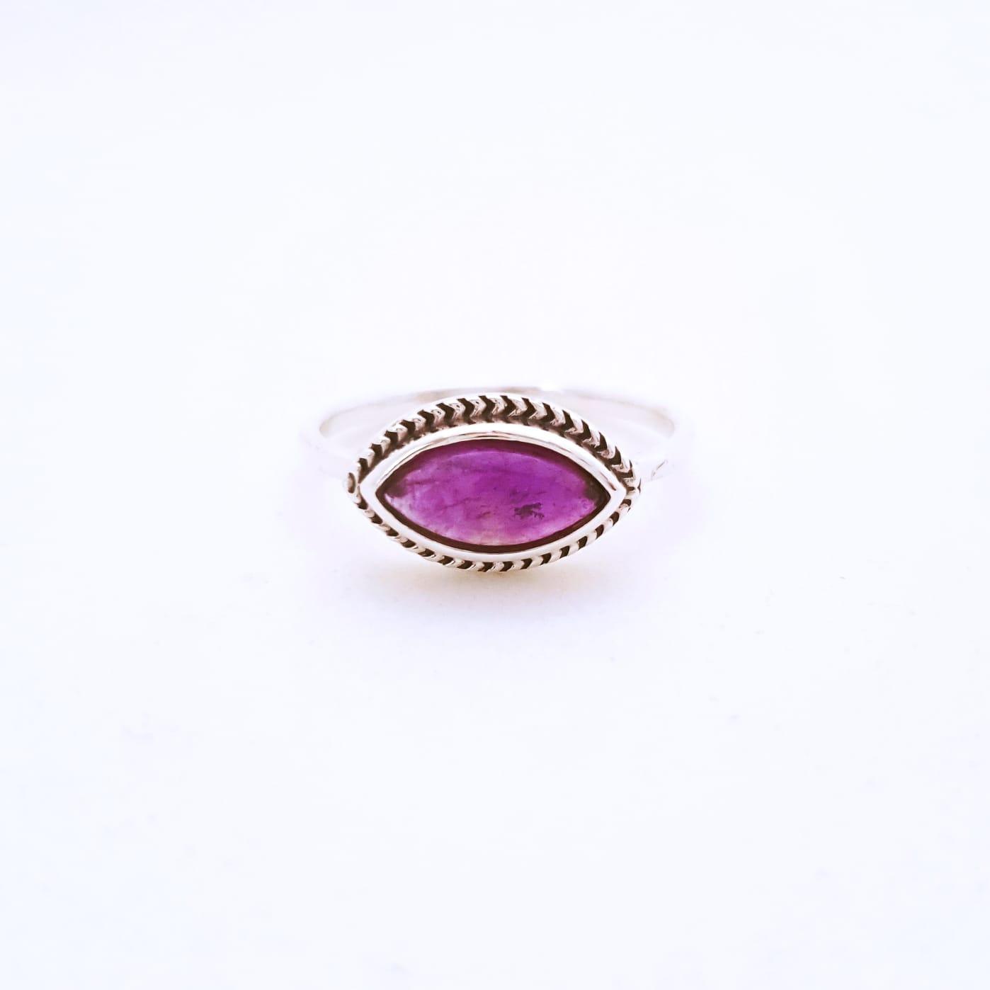 Anel de Prata Indiano Eye Pedras Naturais