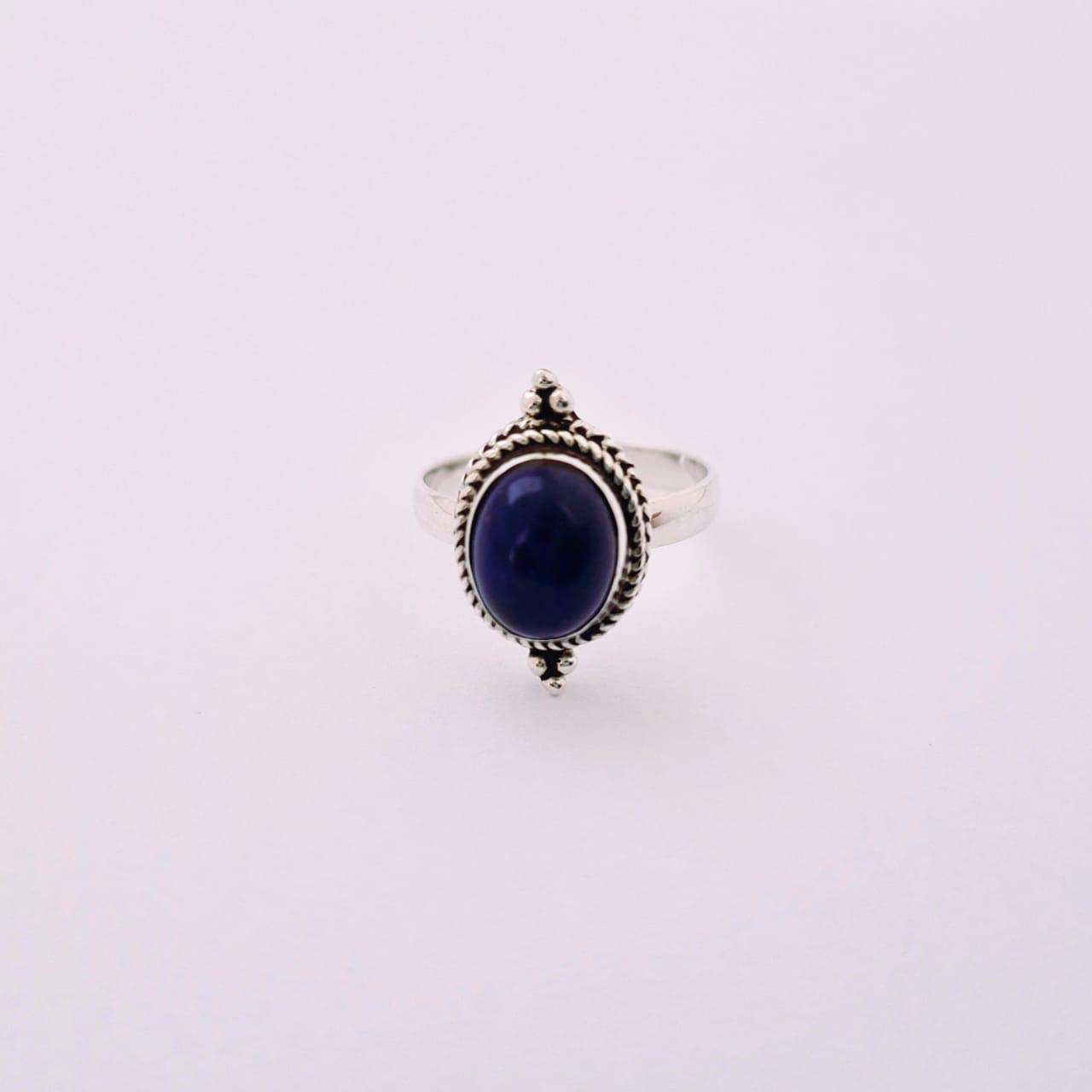Anel de Prata Indiano Lápis Lazuli