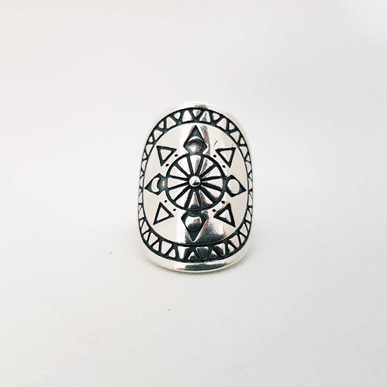 Anel de Prata Mandala com Setas