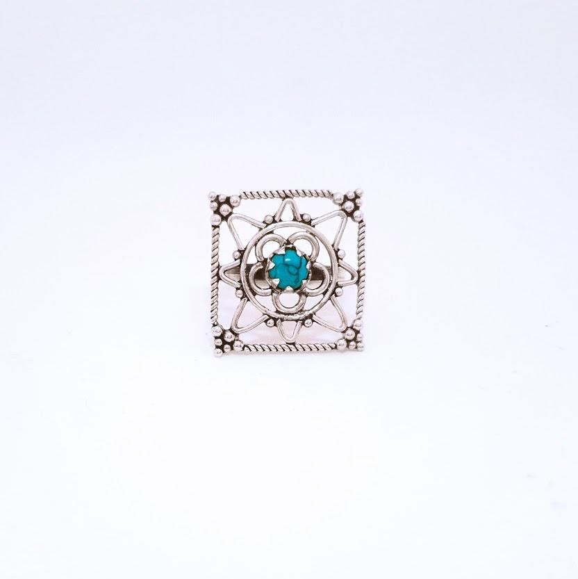 Anel de Prata Mandala Quadrada