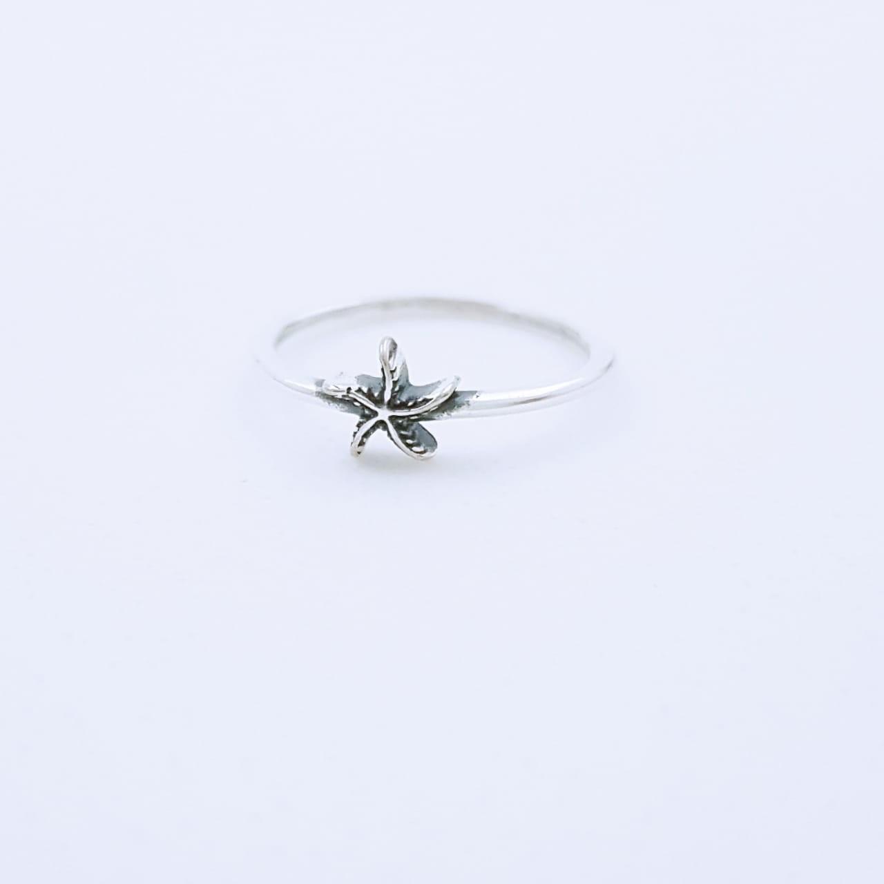 Anel de Prata Mindinho Estrela do Mar
