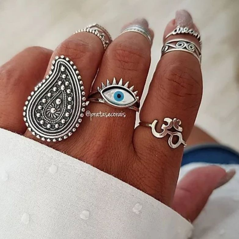 Anel de Prata Olho Grego Madrepérola