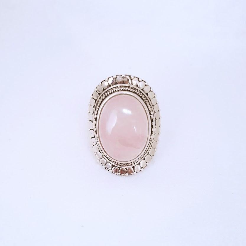 Anel de Prata Quartzo Rosa