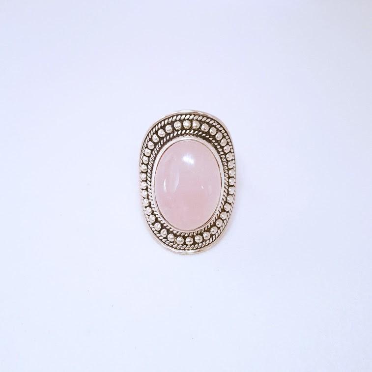 Anel de Prata Quartzo Rosa com Bolinhas