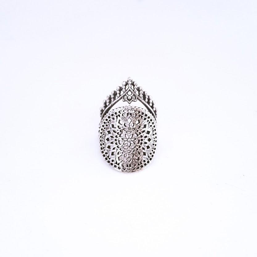 Anel de Prata Renda com Coroa