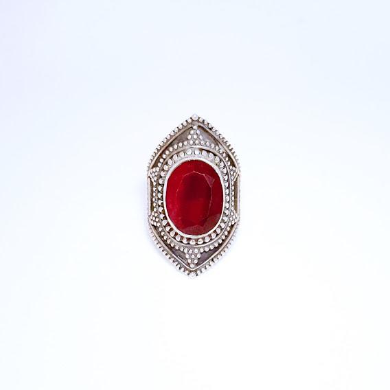 Anel de Prata Rubi Indiano Estrela Pontilhada