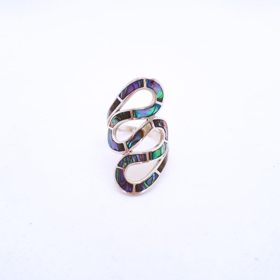 Anel de Prata Serpente com Pedras