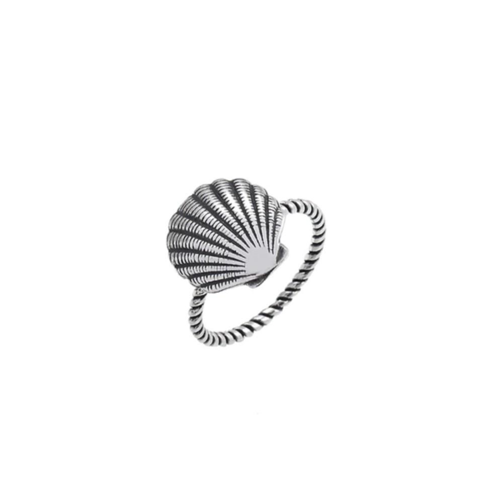 Anel de Prata Trançado com Concha