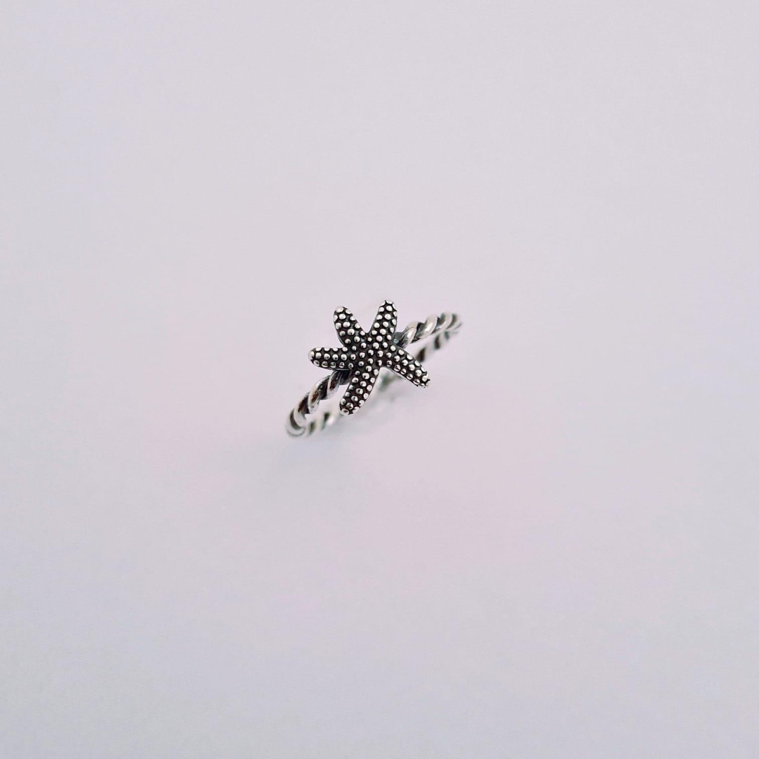Anel de Prata Trançado Estrela do Mar