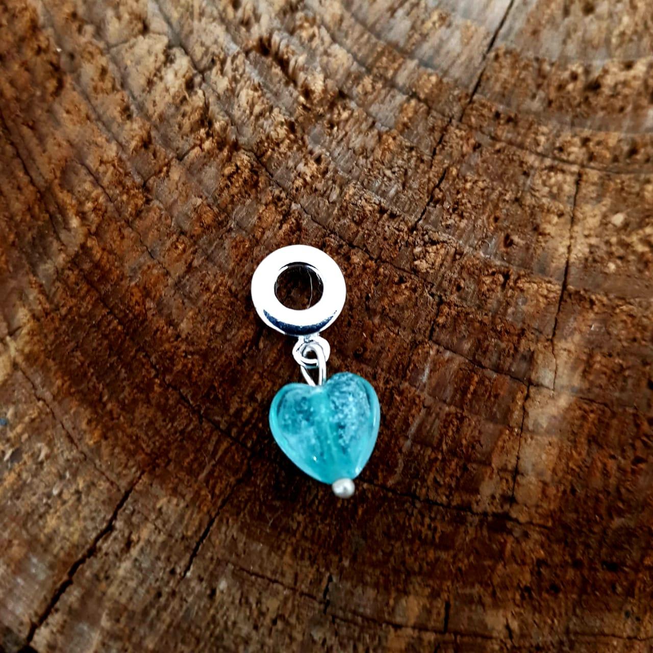 Berloque de Prata Coração Zircônia Azul