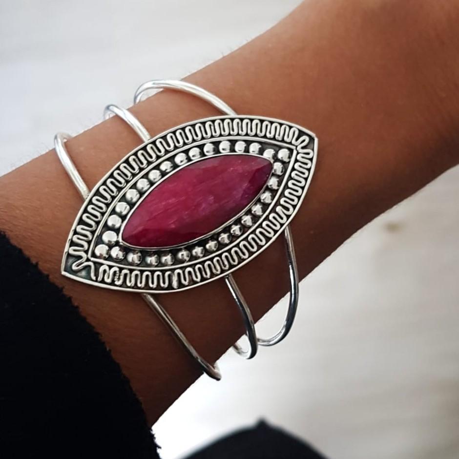 Bracelete de Prata Bali Elipse Pedra Rubi Indiano