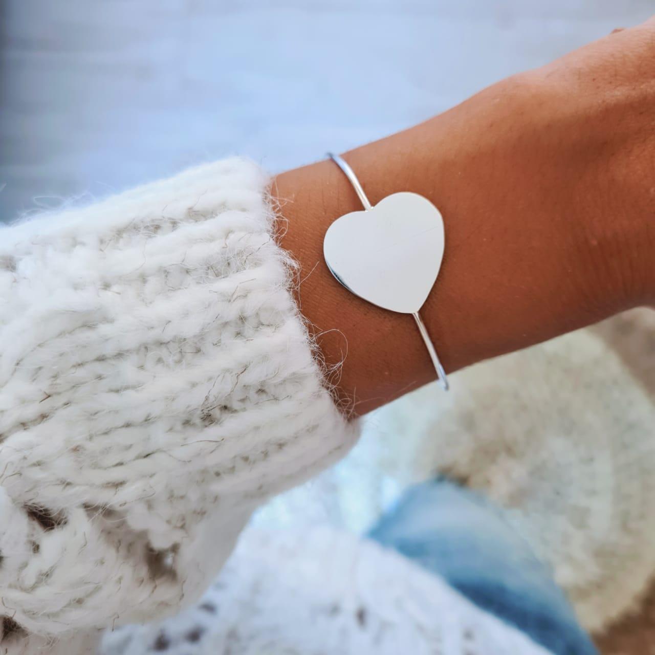 Bracelete de Prata Coração Liso