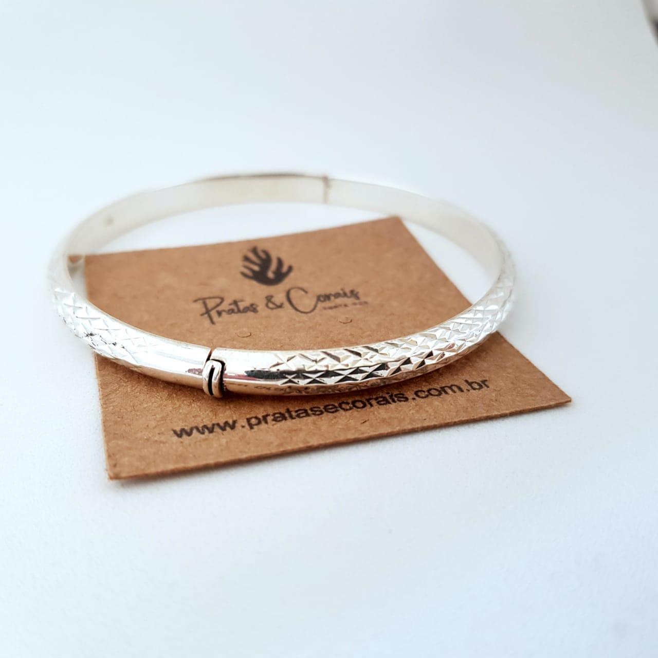 Bracelete de Prata Entalhado