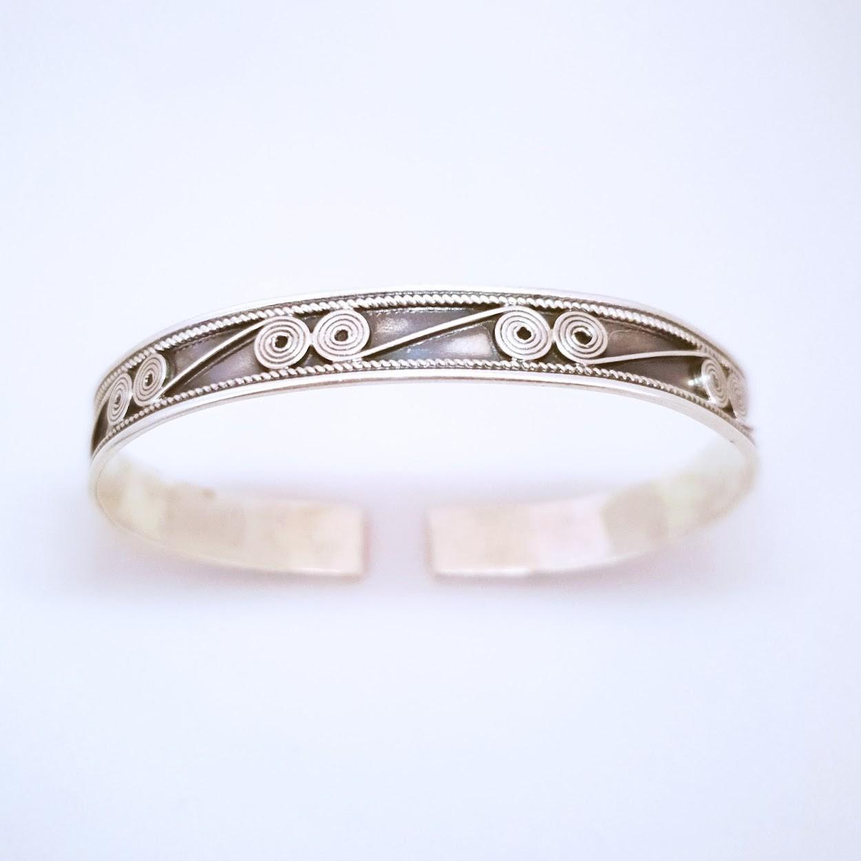 Bracelete de Prata Envelhecido com Espirais