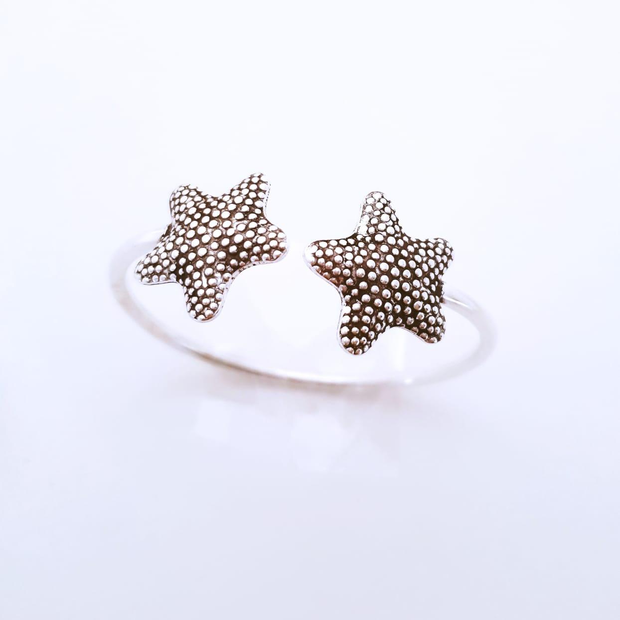 Bracelete de Prata Estrela do Mar Pontilhada