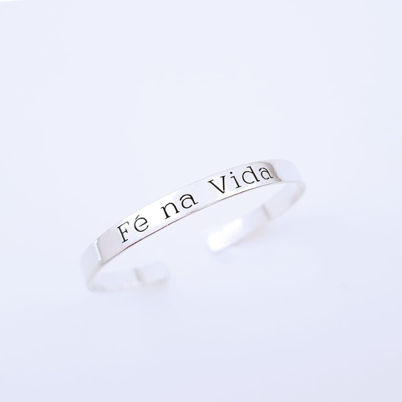 Bracelete de Prata Fé na Vida