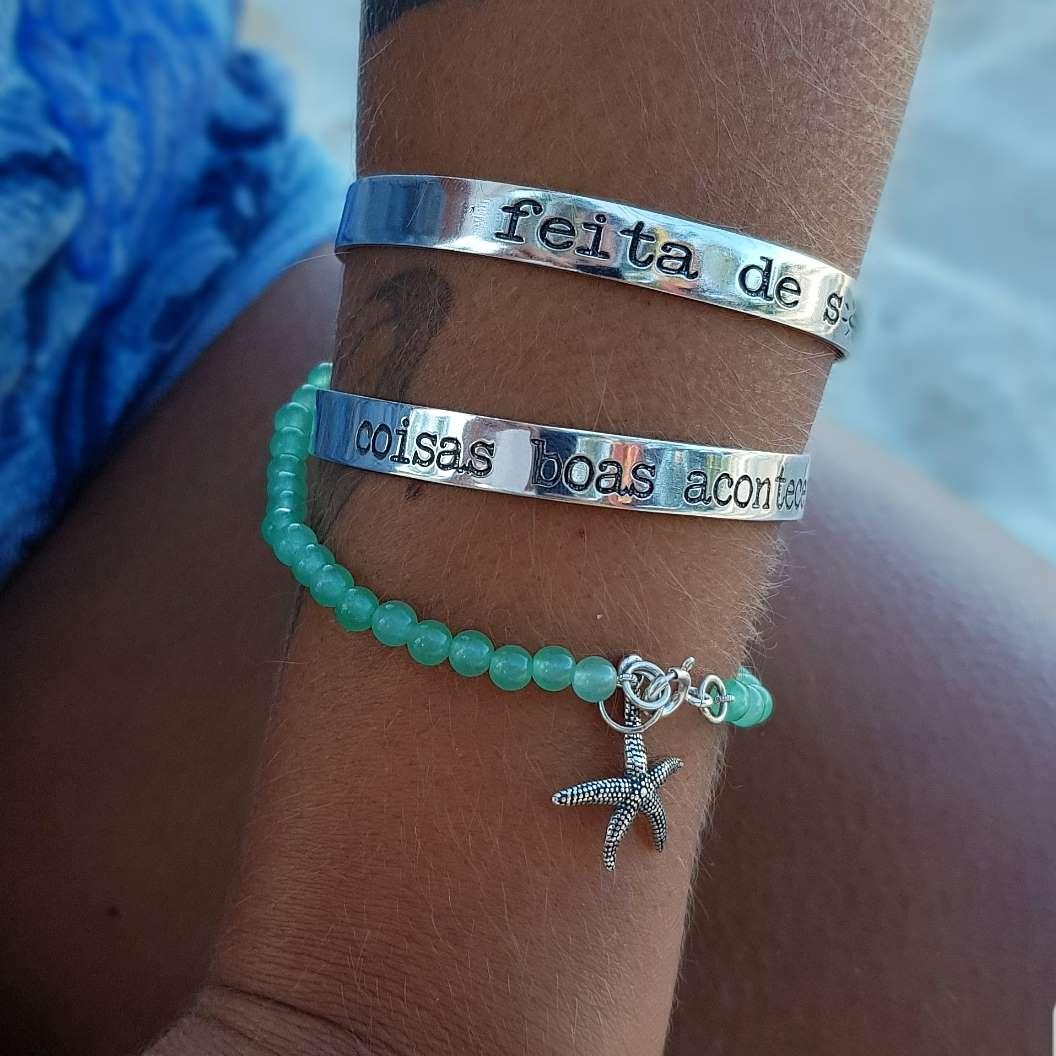 Bracelete de Prata Frases Diversas
