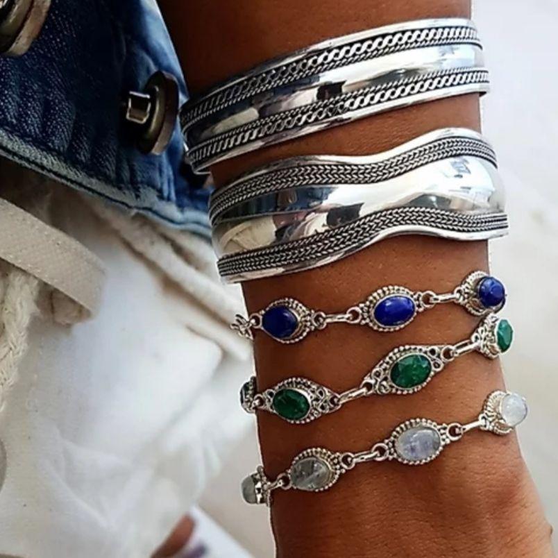 Bracelete de Prata 925 Indiano Trança