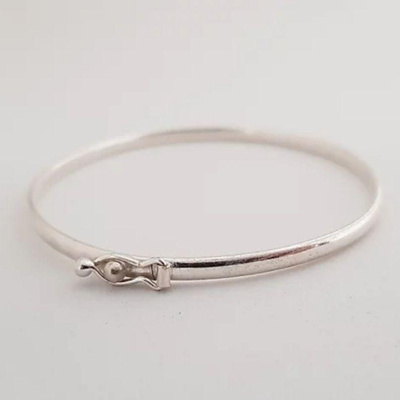 Bracelete de Prata 925 Liso Fecho Lateral