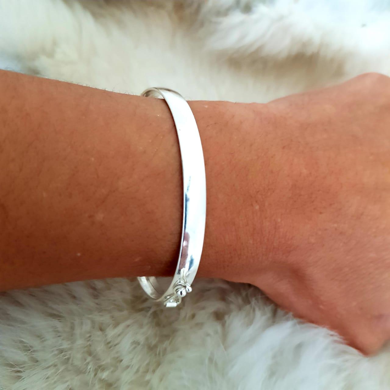 Bracelete de Prata Liso Largo
