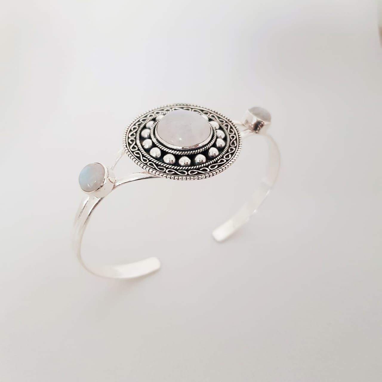Bracelete de Prata Mandala Pedra da Lua