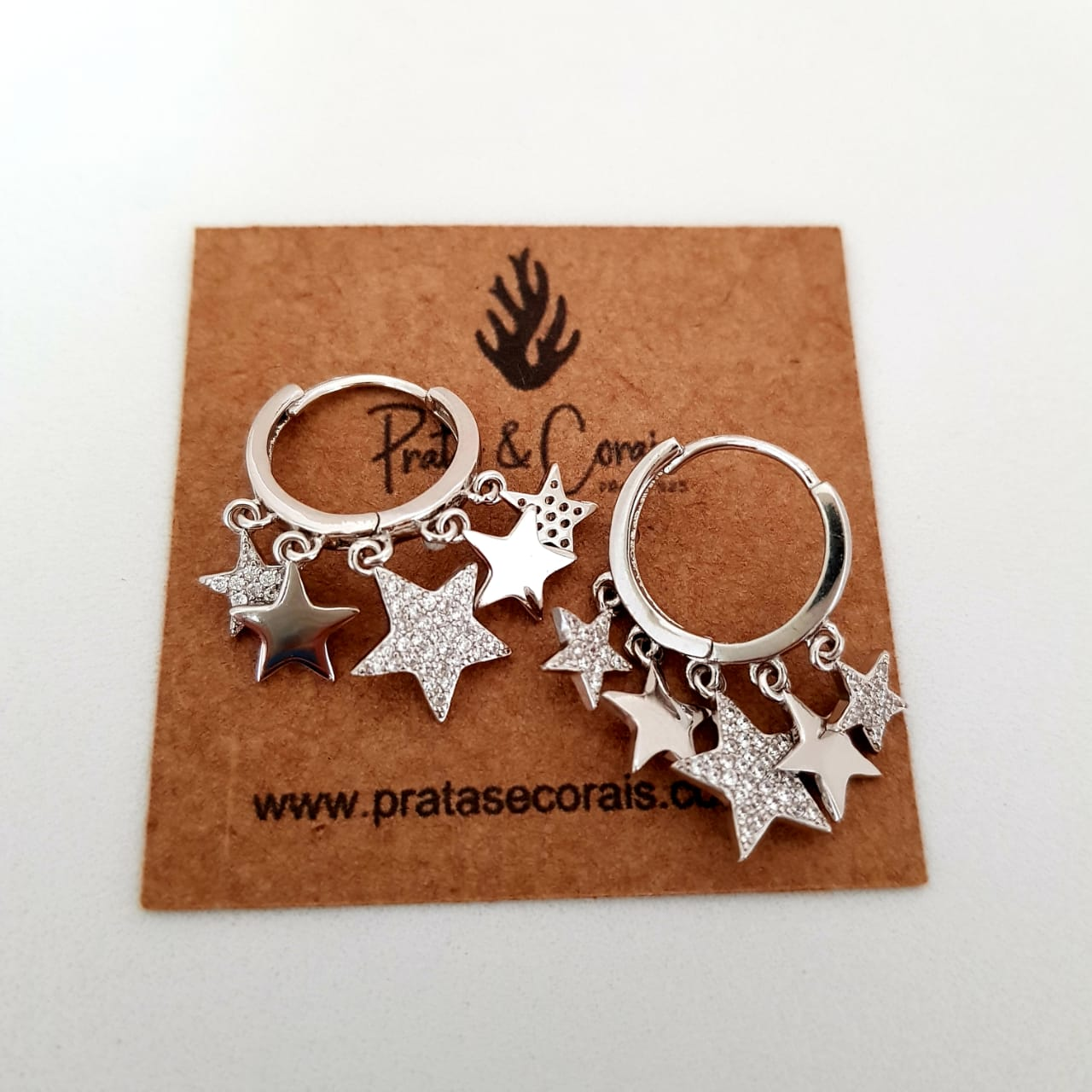 Brinco de Prata Argola com Estrela Ródio Branco