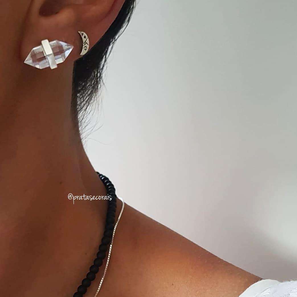 Brinco de Prata com Cristal