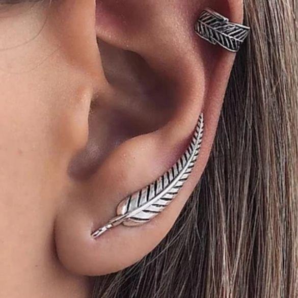 Brinco de Prata Ear Cuff Folha Grande