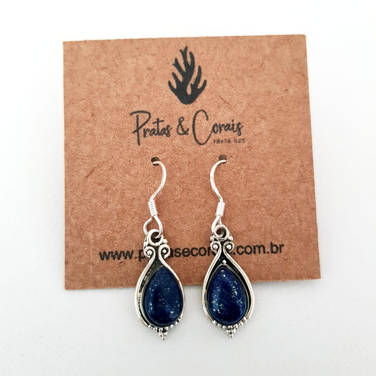 Brinco de Prata Gota Lápis Lazuli