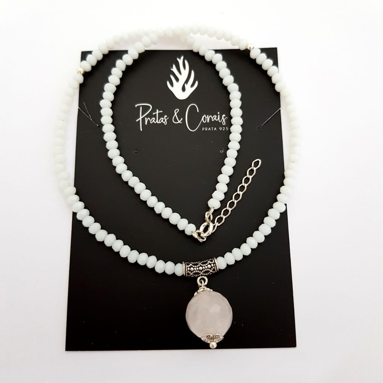 Choker de Prata Cristais Brancos com Pedras