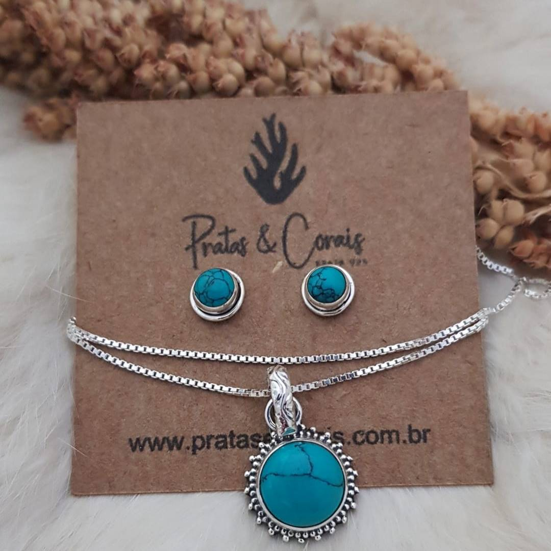 Conjunto de Gargantilha e Brincos em Prata com Pedra Natural Turquesa Pingente Redondo