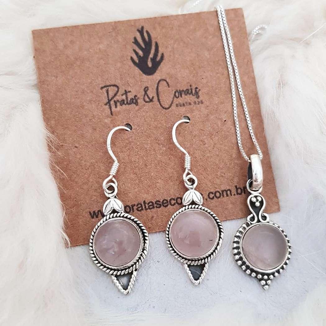 Conjunto de Prata com Pedra Quartzo Rosa