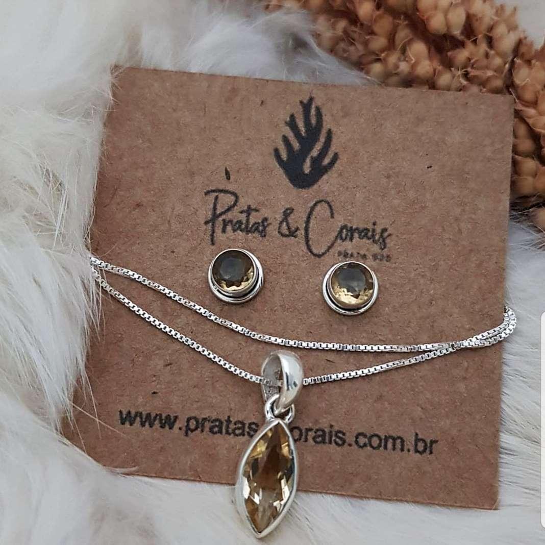 Conjunto Pingente de Prata com Citrino Amarelo Corrente Veneziana e Brinco