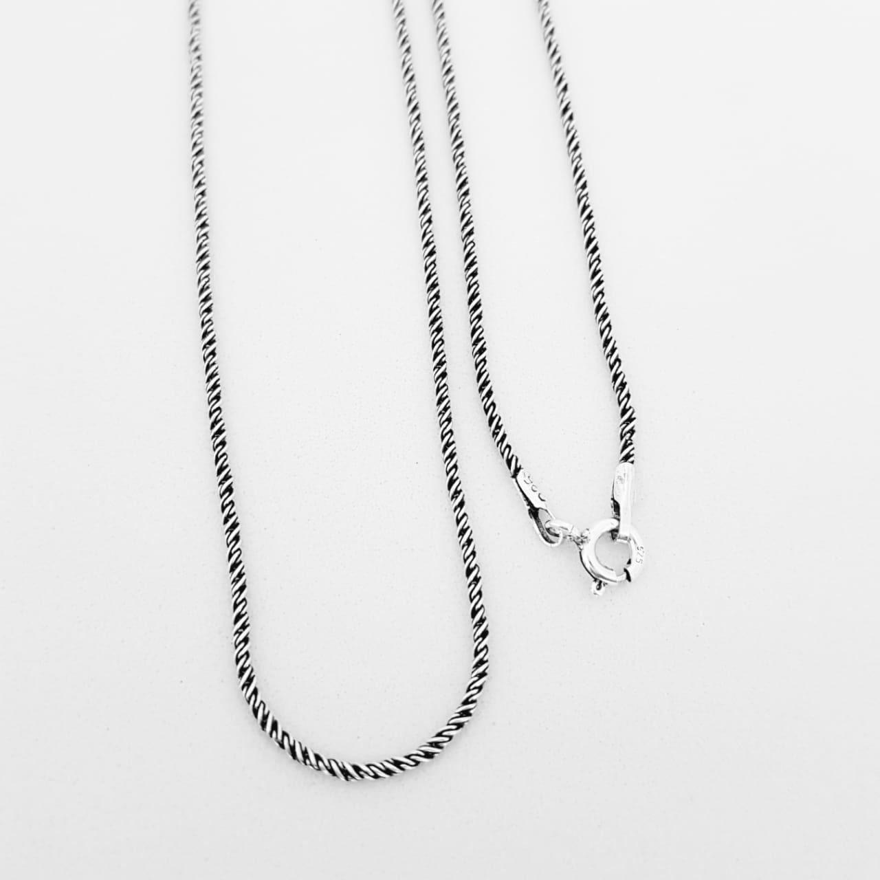 Corrente de Prata Trama Bali - 80 cm