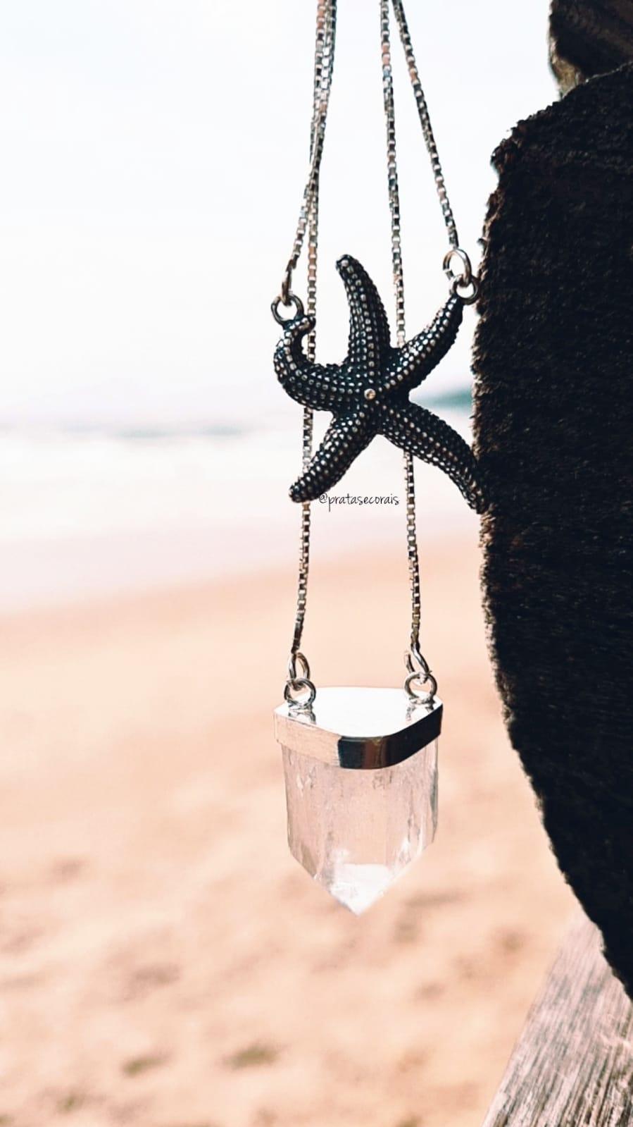 Escapulário de Prata Cristal e Estrela do Mar