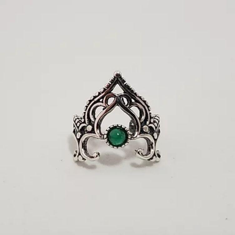 Falange de Prata Ajustável Coroa com Agata Verde