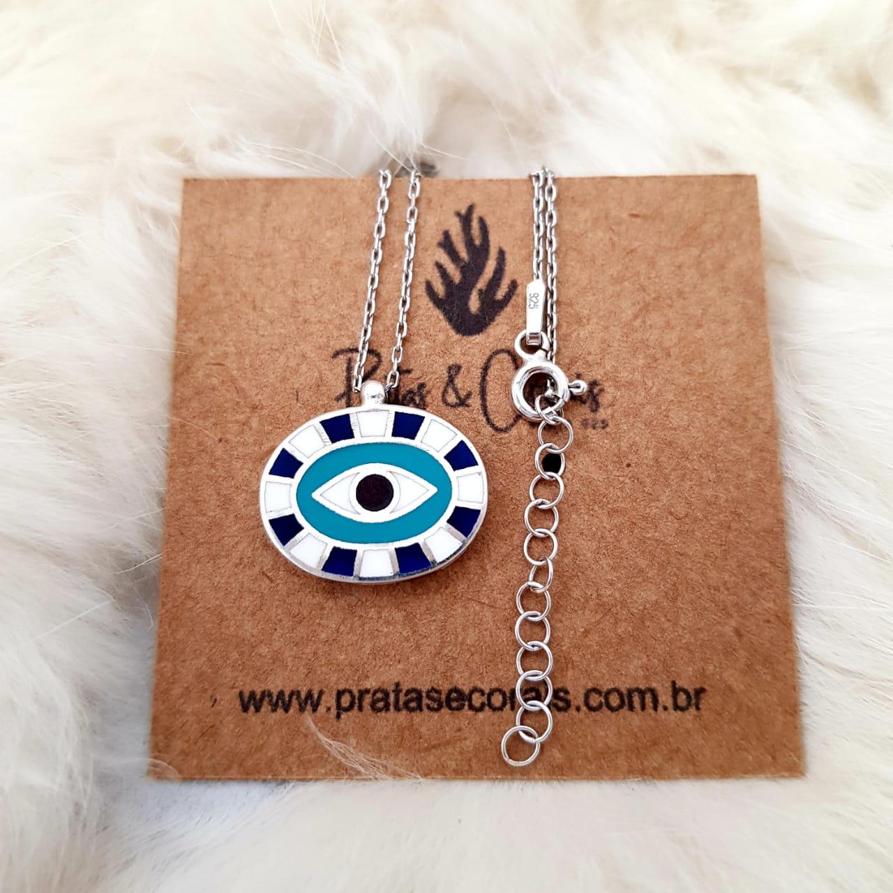 Gargantilha de Prata com Olho Grego Oval Esmaltado - 45 cm