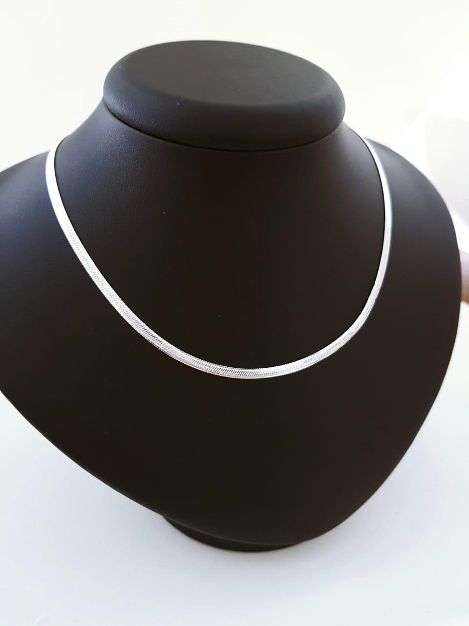 Gargantilha de Prata Laminada - 40 cm