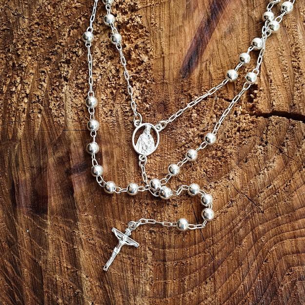Gargantilha de Prata Terço Sagrado Coração de Maria