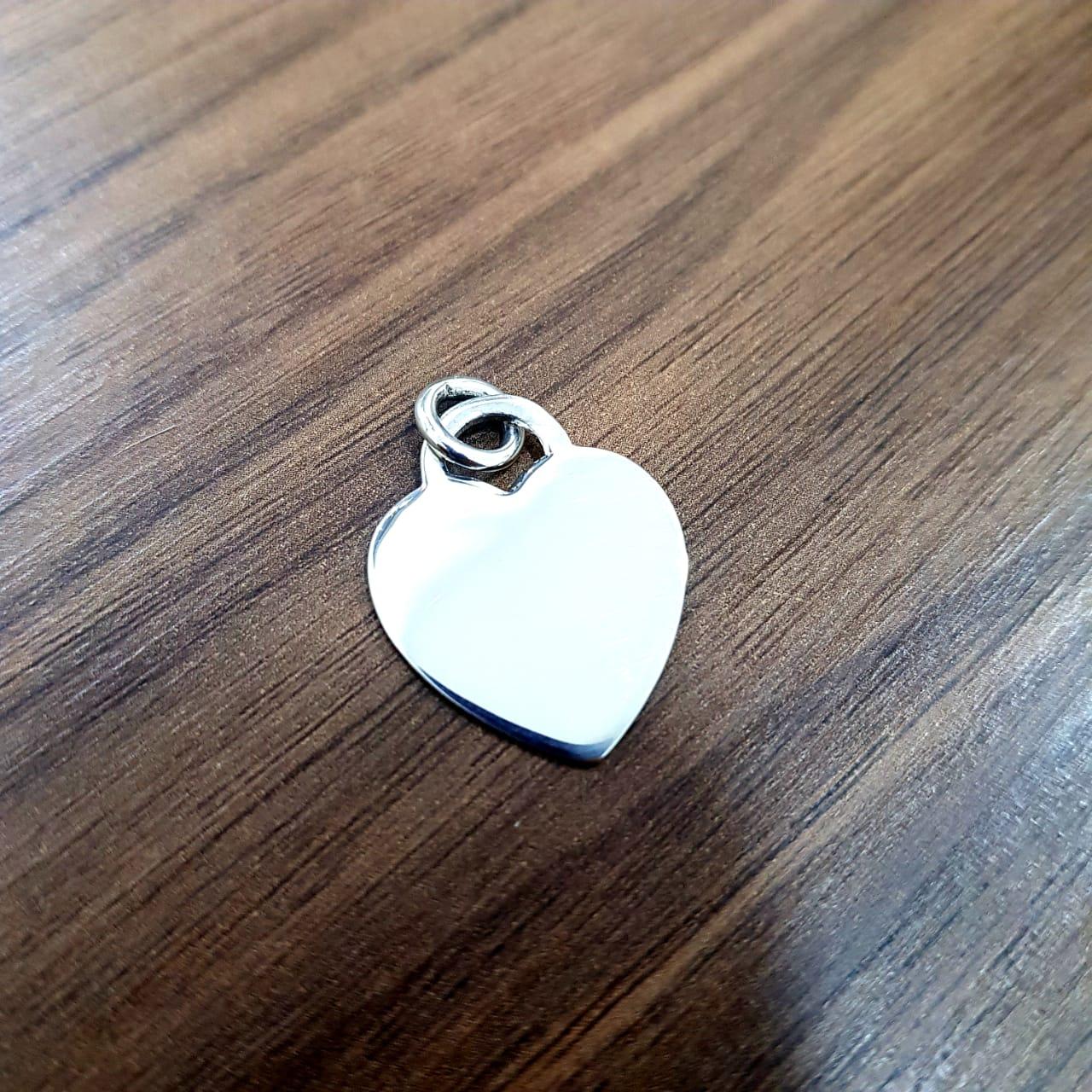 Pingente de Prata Branca Coração Liso