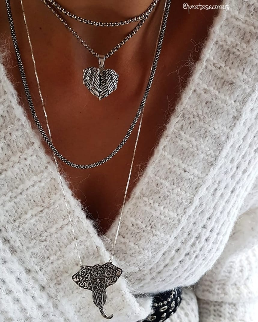 Pingente de Prata Coração Alado Relicário