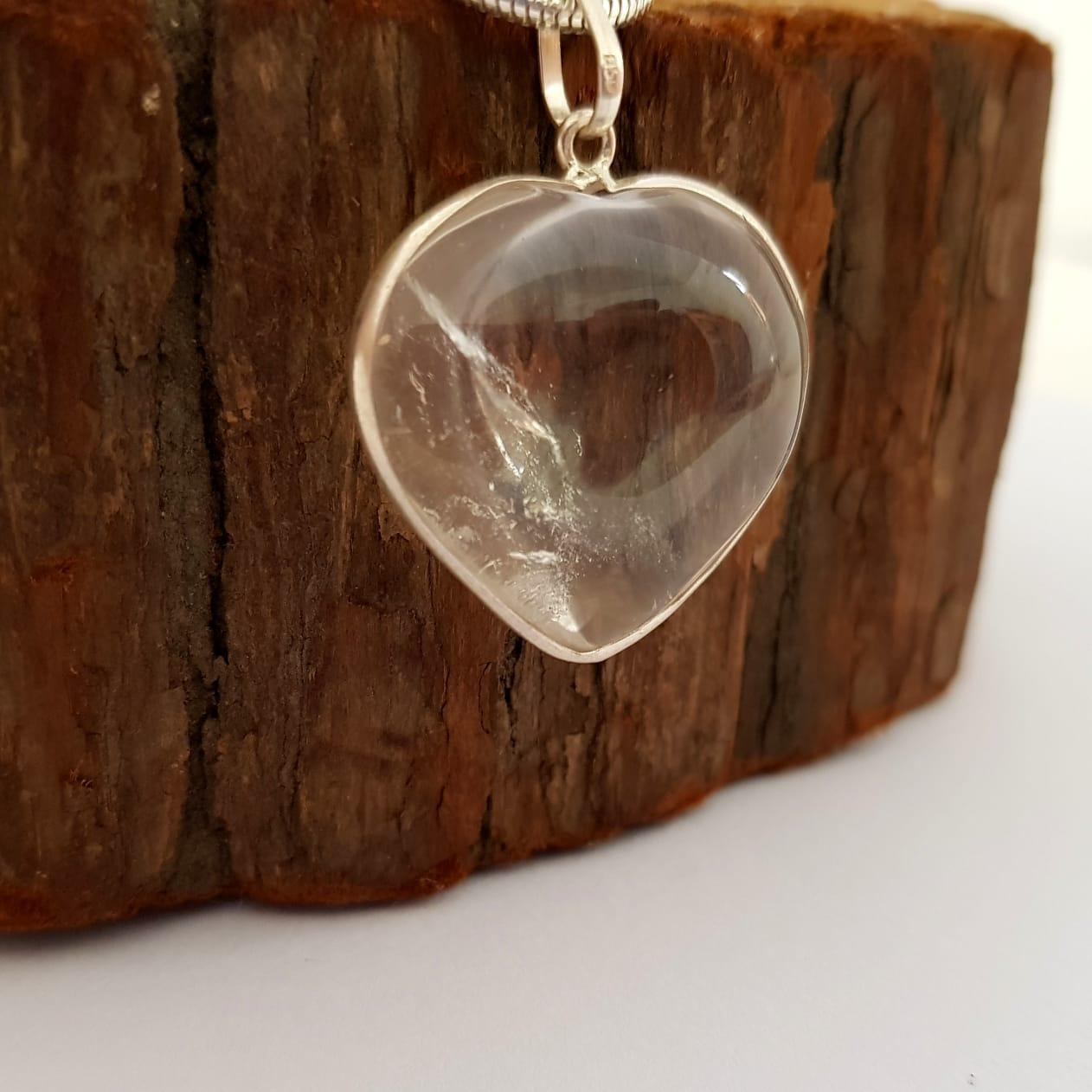 Pingente de Prata Coração de Cristal